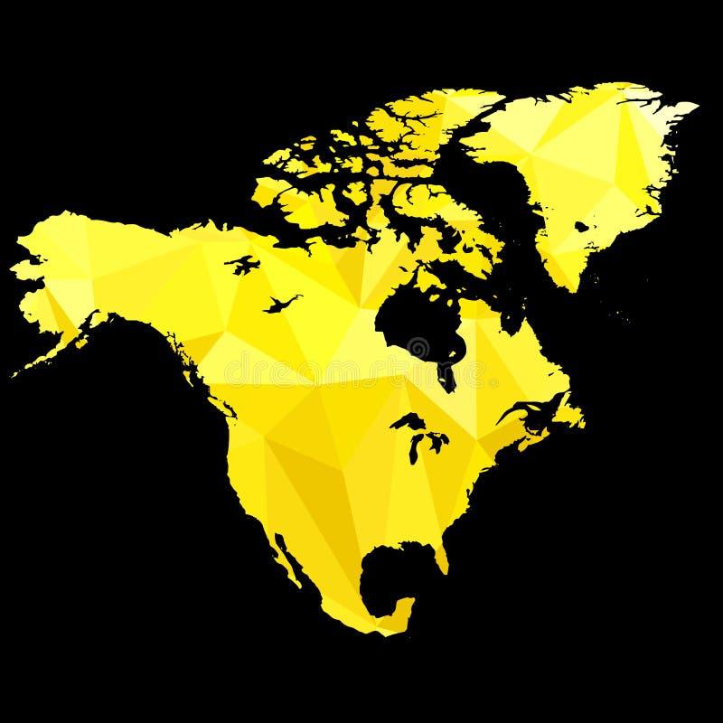 Översikten av Nordamerika gjorde av guld- färg stock illustrationer