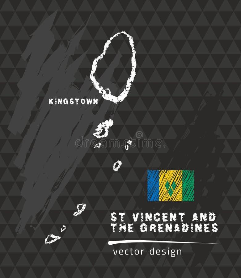 Översikten av Saint Vincent och Grenadinerna, krita skissar vektorillustrationen vektor illustrationer