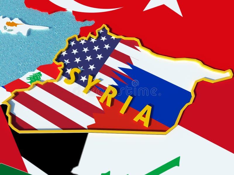 Översikten av Syrien delade med USA och Ryssland flaggor med omgeende länder - 3D framför royaltyfri illustrationer