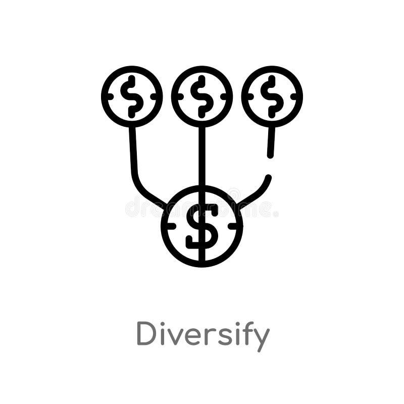 översikten diversifierar vektorsymbolen isolerad svart enkel linje beståndsdelillustration från att marknadsföra begrepp Redigerb stock illustrationer
