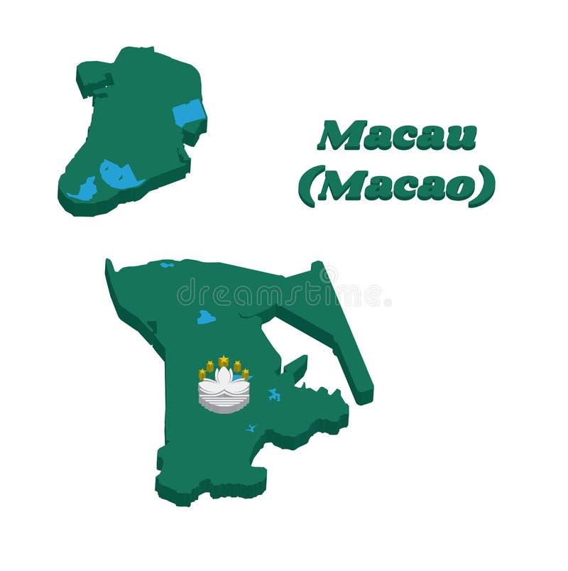 översikten för översikten 3D och flaggan av Macao, gör grön med en lotusblomma och en stiliserad regulator Nobre de Carvalho Brid royaltyfri illustrationer