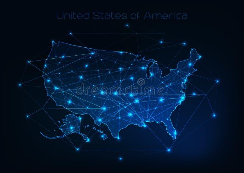Översikten för den Amerikas förenta staterUSA översikten med stjärnor och linjer gör sammandrag ramen vektor illustrationer