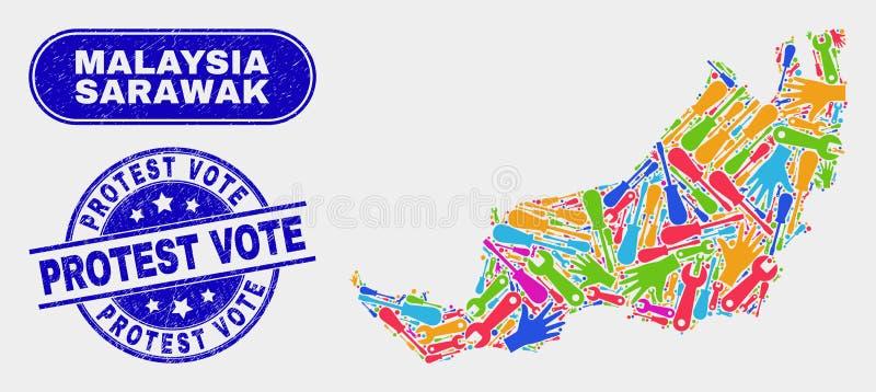 Översikten för det hjälpmedelSarawak tillståndet och nödlägeprotesten röstar skyddsremsor royaltyfri illustrationer