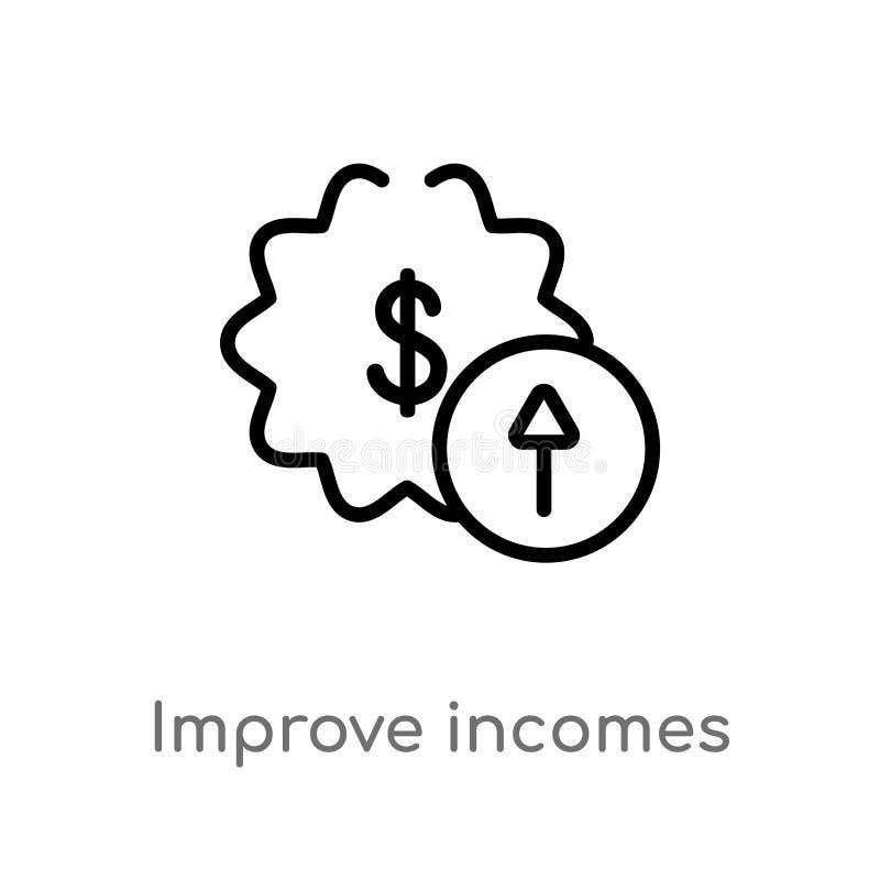 översikten förbättrar inkomstvektorsymbolen isolerad svart enkel linje beståndsdelillustration från användargränssnittbegrepp Red stock illustrationer