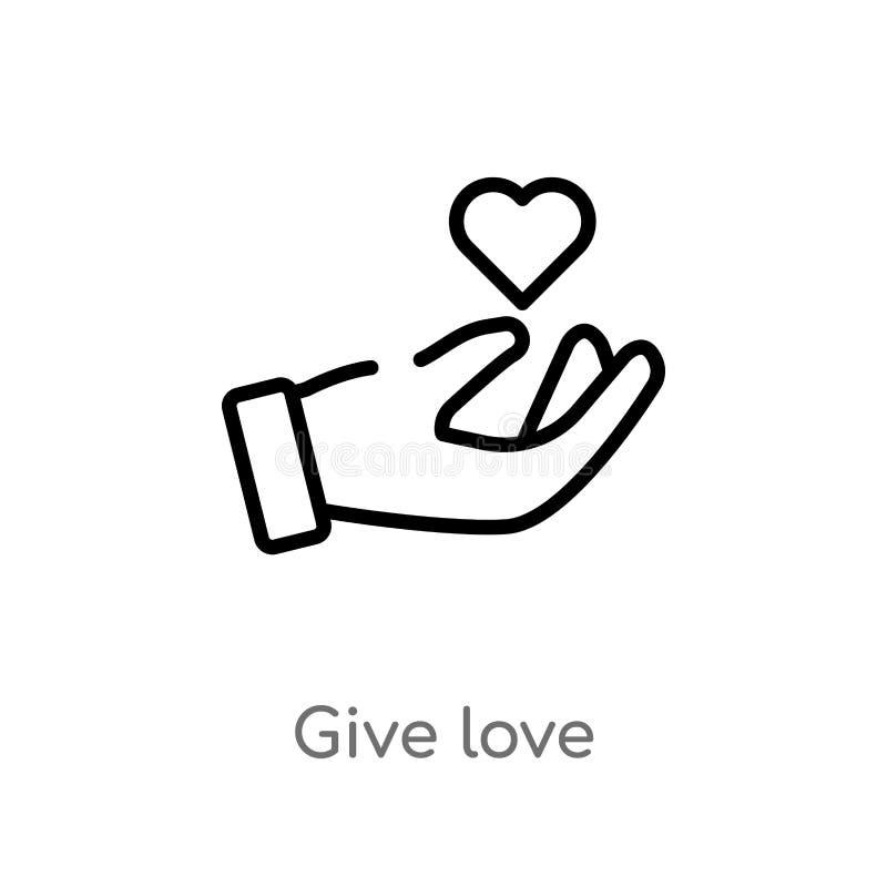 översikten ger förälskelsevektorsymbolen isolerad svart enkel linje beståndsdelillustration från händer och gestbegrepp Redigerba stock illustrationer