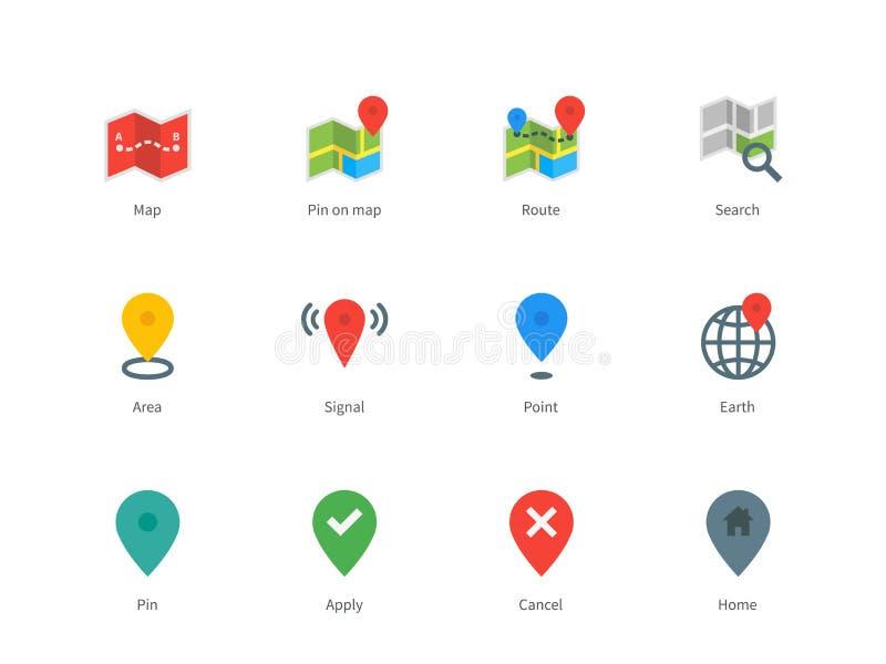 Översikten GPS och navigering färgar symboler på vit stock illustrationer