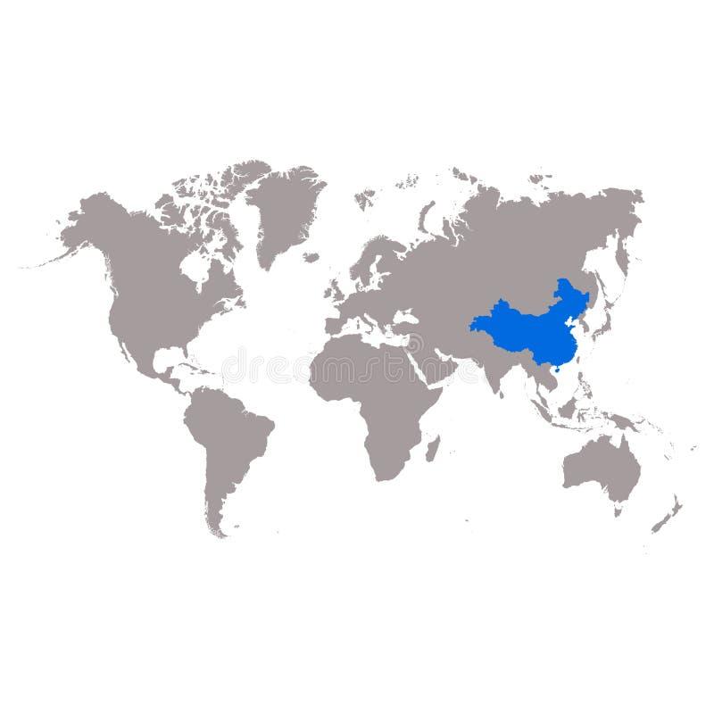 Översikten Kina av markeras i blått på världskartan stock illustrationer