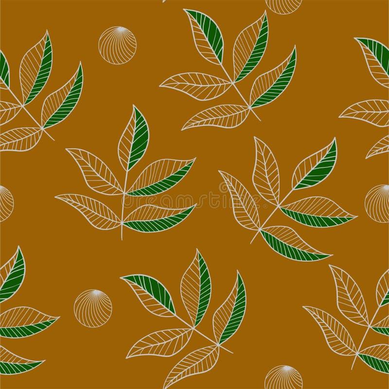 Översikten lämnar den sömlösa modellen på gurkmejafärgen stock illustrationer