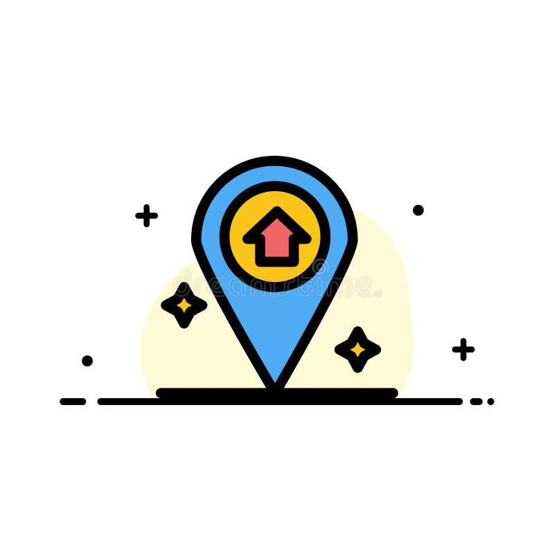 Översikten navigering, plan linje för husaffär fyllde mallen för symbolsvektorbanret stock illustrationer