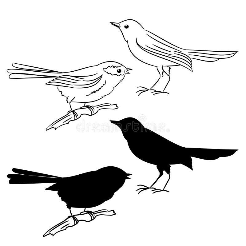 Översikten och av konturn av fåglarna ställde in vektorn två stock illustrationer