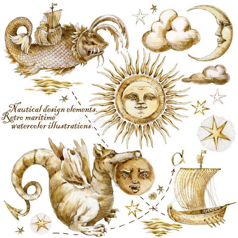 översikten piratkopierar för att uppskatta långt Nautiska designbeståndsdelar retro maritima illustrationer för vattenfärg royaltyfri illustrationer
