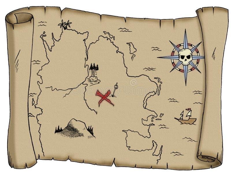 översikten piratkopierar skatten royaltyfri illustrationer