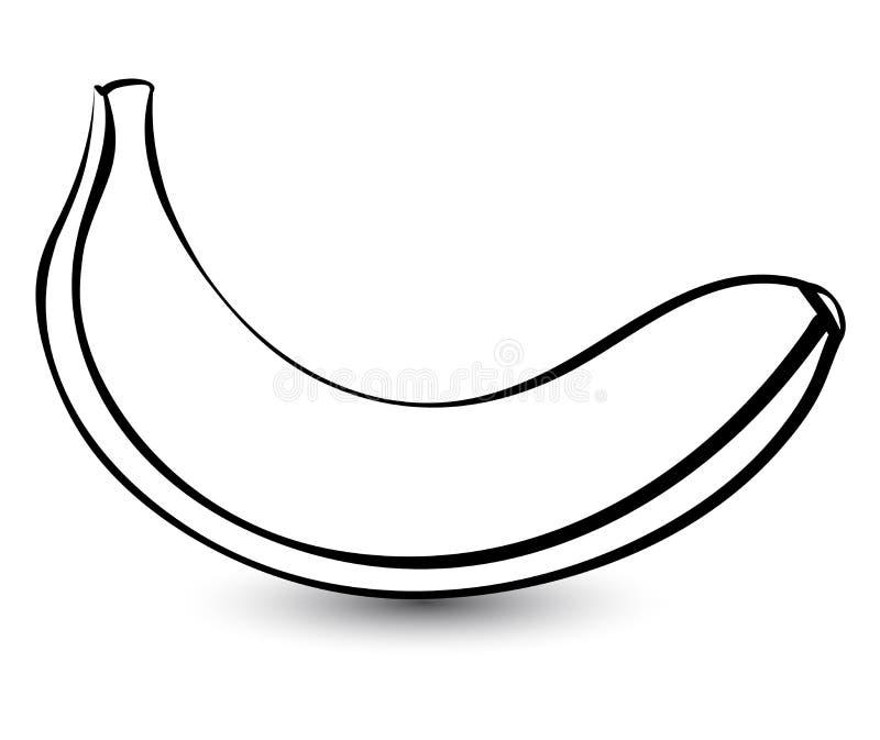 Översikten skissar den monokromma bananen vektor illustrationer