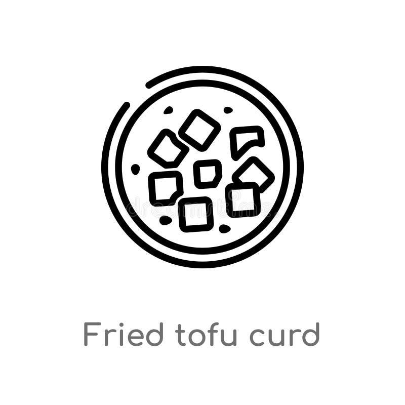 översikten stekt tofuostmassa klumpa ihop sig vektorsymbolen isolerad svart enkel linje beståndsdelillustration från matbegrepp R stock illustrationer