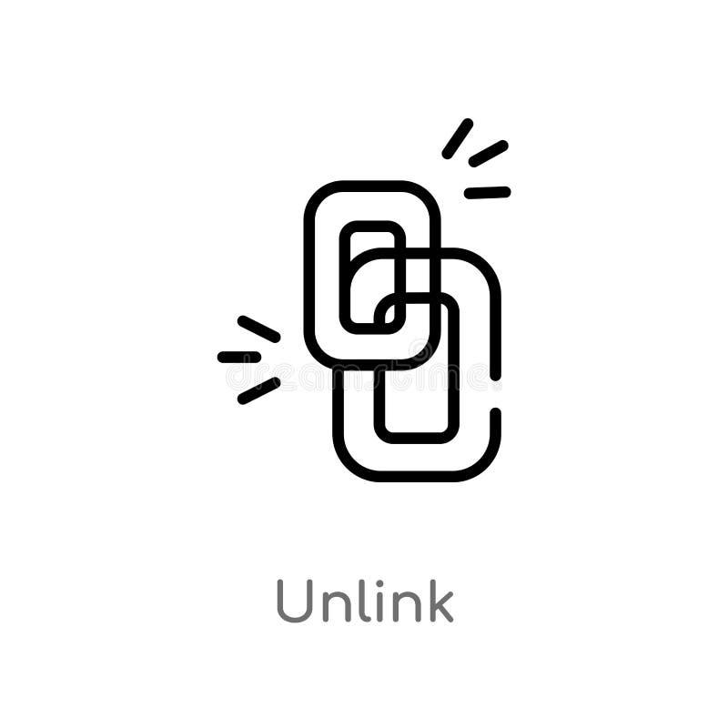 översikten unlink vektorsymbolen isolerad svart enkel linje beståndsdelillustration från användargränssnittbegrepp Redigerbar vek royaltyfri illustrationer