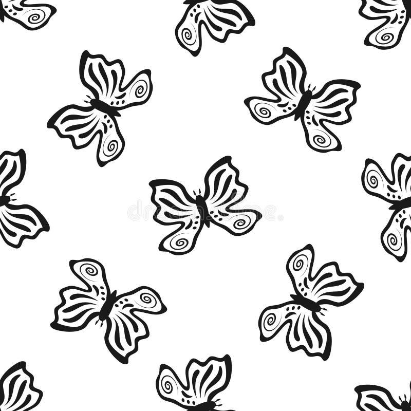 Översikter av fjärilar som dras av handen seamless modell vektor illustrationer