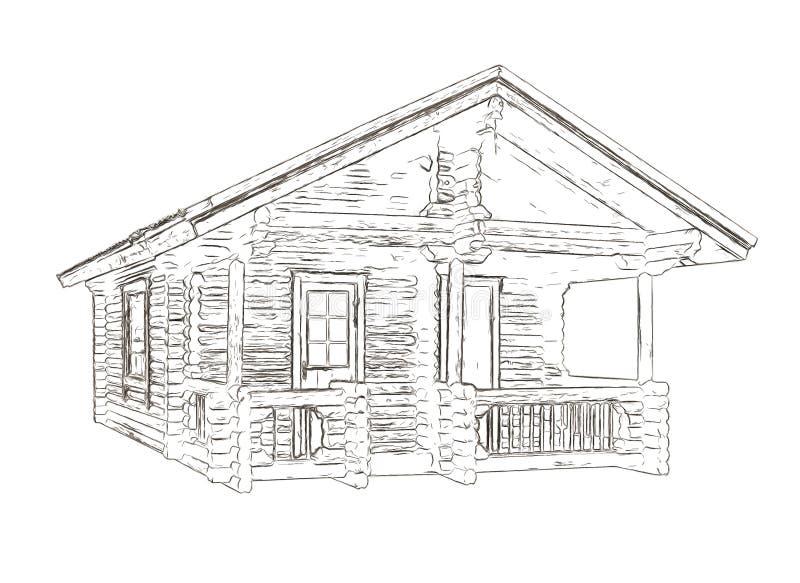 Översikter av huset som byggs av journaler stock illustrationer