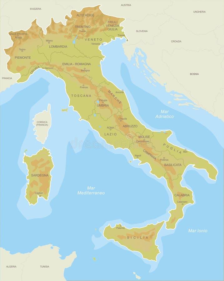 Översikter av Italien royaltyfri illustrationer