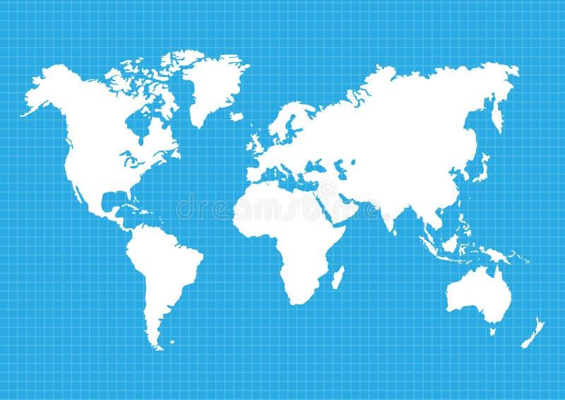Översikter av jord`en s världskarta kontinenter, vektorillustration arkivbild
