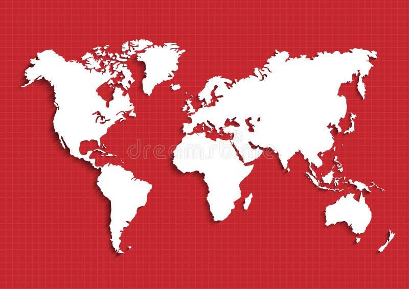 Översikter av jord`en s världskarta kontinenter, vektorillustration royaltyfri illustrationer