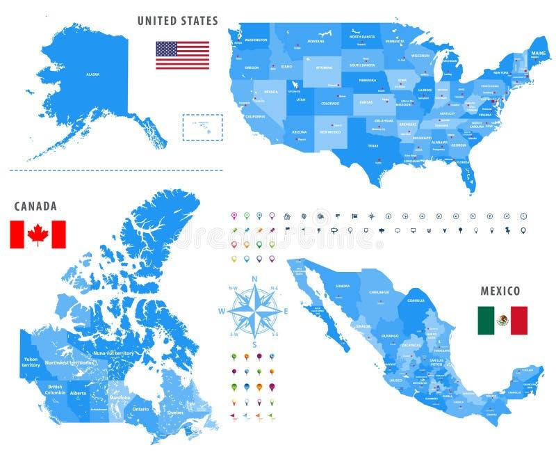 Översikter av Kanada, Förenta staterna och Mexico med flaggor och lägenavigeringsymboler stock illustrationer