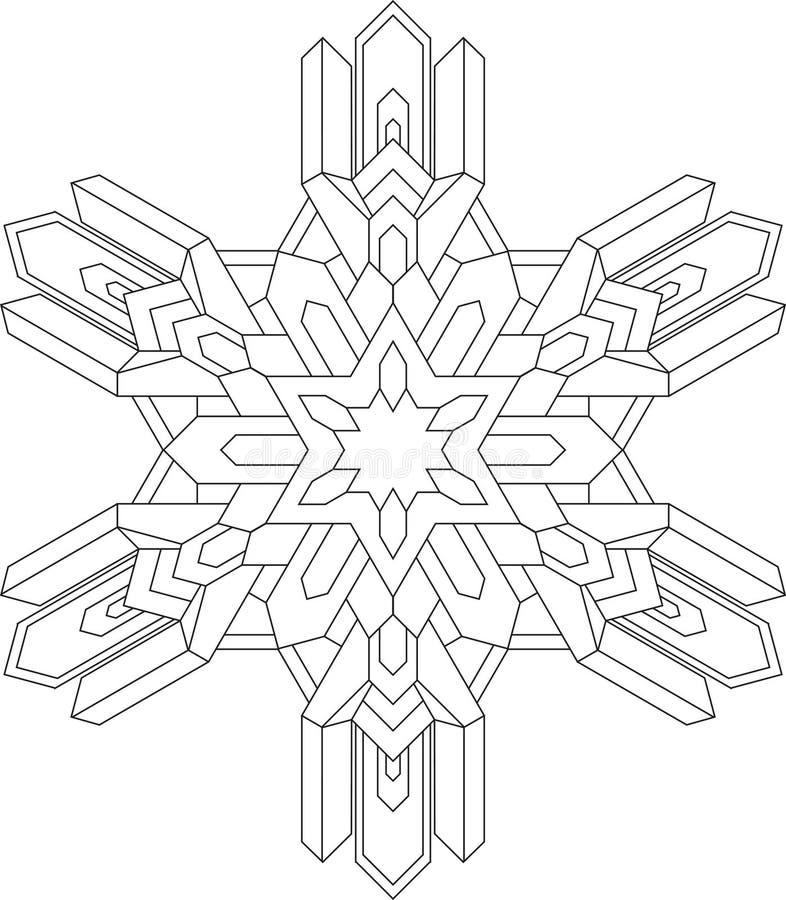 Översikter av snöflingan i den mono linjen stil för att färga, färgläggningbok geometrisk modellvektor royaltyfri illustrationer