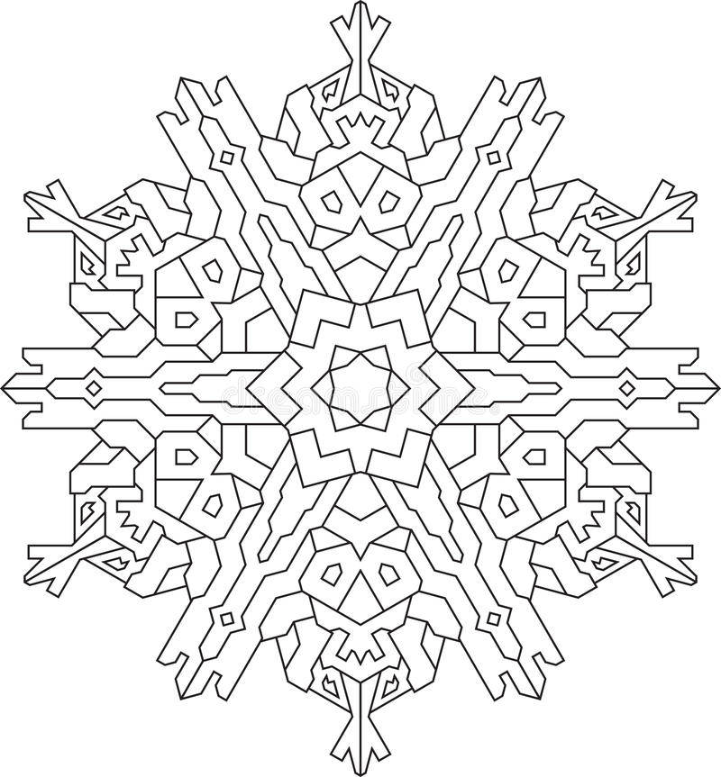 Översikter av snöflingan i den mono linjen stil för att färga som färgar stock illustrationer