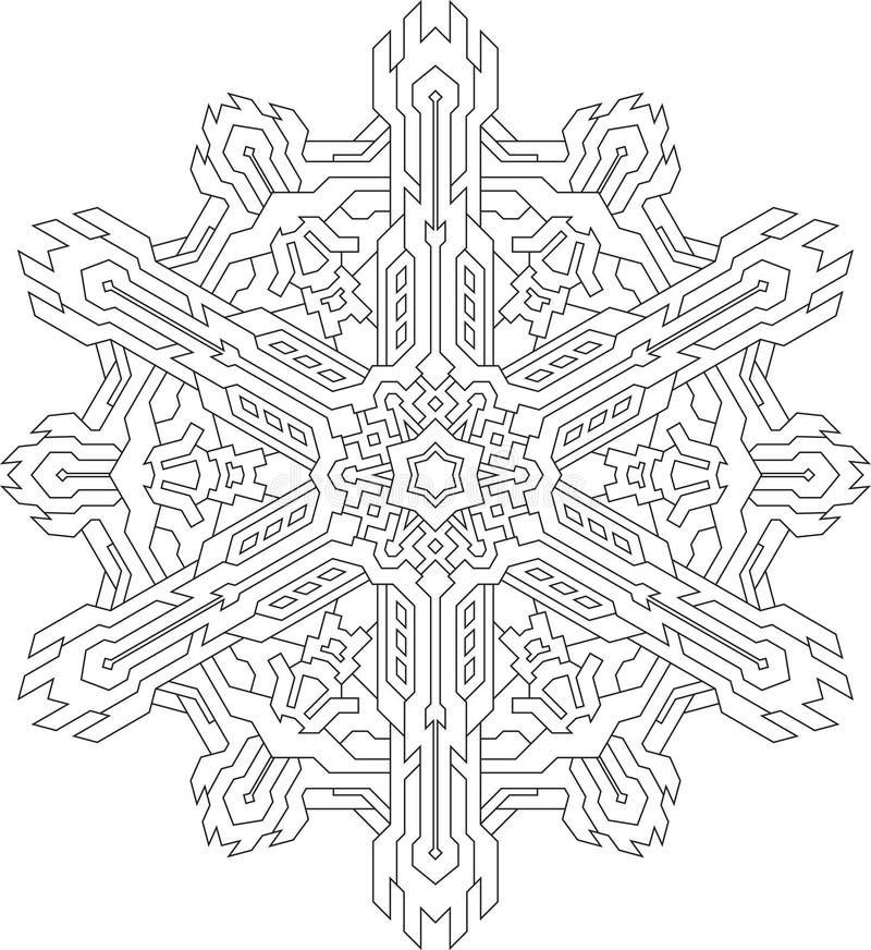 Översikter av snöflingan i den mono linjen stil för att färga som färgar vektor illustrationer