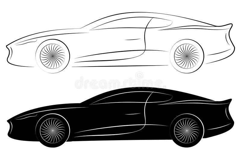 Översikter av sportbilar royaltyfri illustrationer
