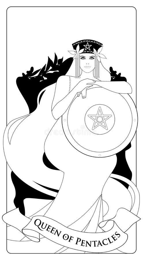 Översikter gör till drottning av Pentacles med kronan och långt hår som rymmer den guld- skölden med symbolet av pentaclen i mitt royaltyfri illustrationer