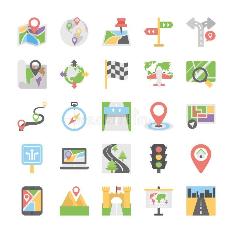 Översikter och för vektorsymboler för navigering plan uppsättning royaltyfri illustrationer