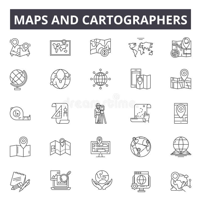 Översikter och kartografer fodrar symboler, tecken, vektoruppsättningen, det linjära begreppet, översiktsillustration vektor illustrationer