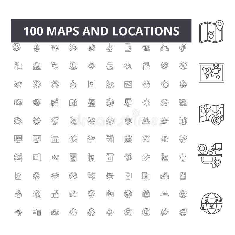 Översikter och lägen fodrar symboler, tecken, vektoruppsättningen, översiktsillustrationbegrepp stock illustrationer