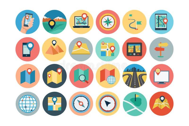 Översikter och plana symboler 1 för navigering vektor illustrationer
