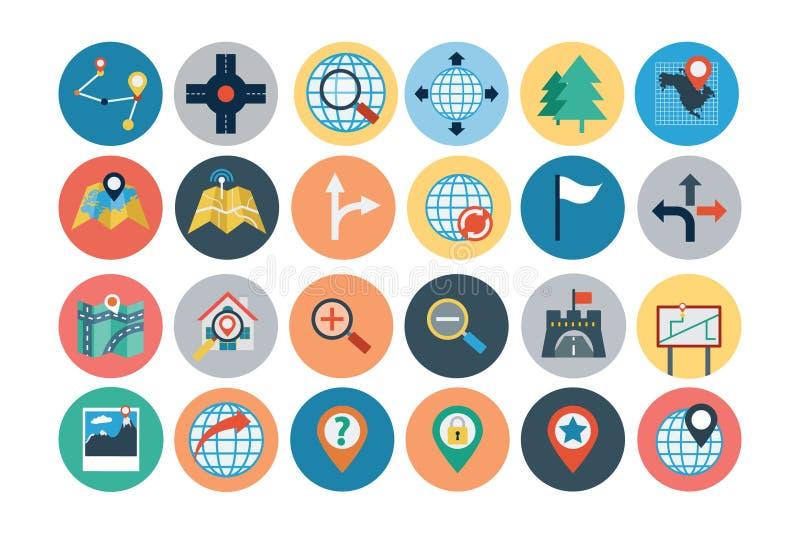 Översikter och plana symboler 1 för navigering stock illustrationer