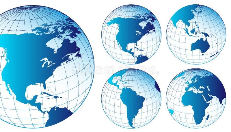 översikter ställde in världen vektor illustrationer