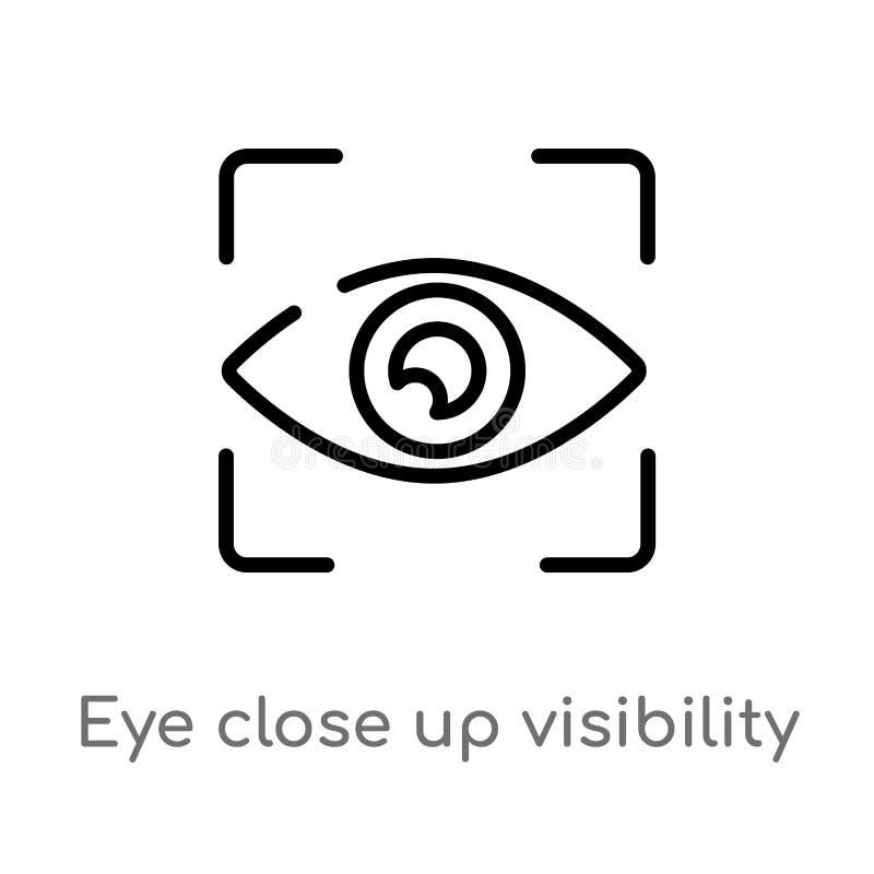 översiktsögonslut upp symbol för synlighetsknappvektor isolerad svart enkel linje beståndsdelillustration från användargränssnitt royaltyfri illustrationer