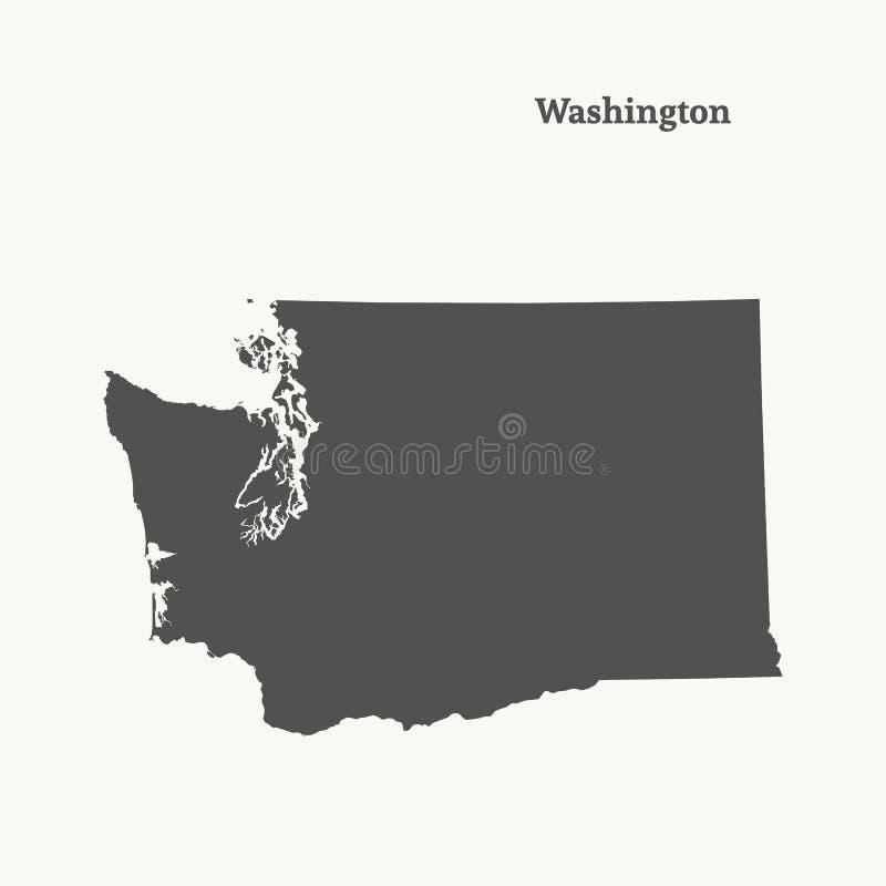Översiktsöversikt av Washington illustration royaltyfri illustrationer