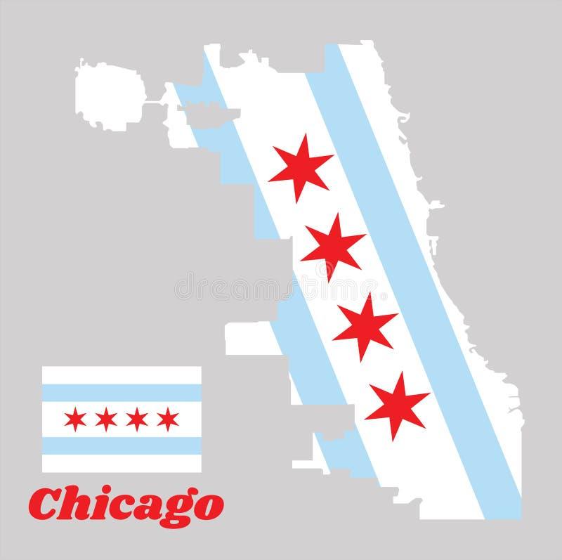Översiktsöversikten och flaggan av Chicago, staden av Chicago är den mest tätbefolkade staden i Illinois royaltyfri illustrationer