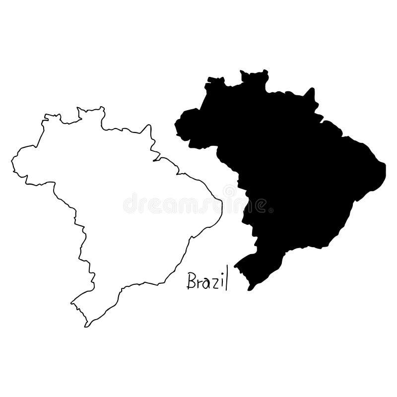 Översikts- och konturöversikt av Brasilien - vektorillustrationhand stock illustrationer