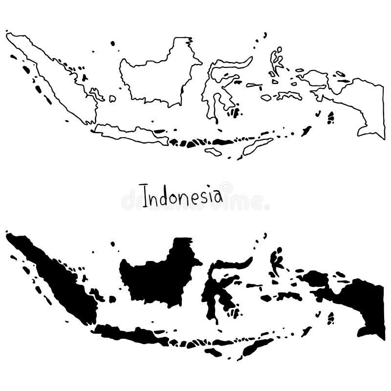 Översikts- och konturöversikt av Indonesien - vektorillustrationmummel stock illustrationer