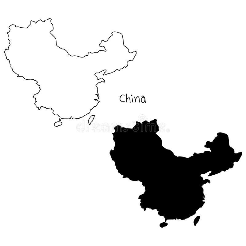 Översikts- och konturöversikt av Kina - vektorillustrationhand D royaltyfri illustrationer