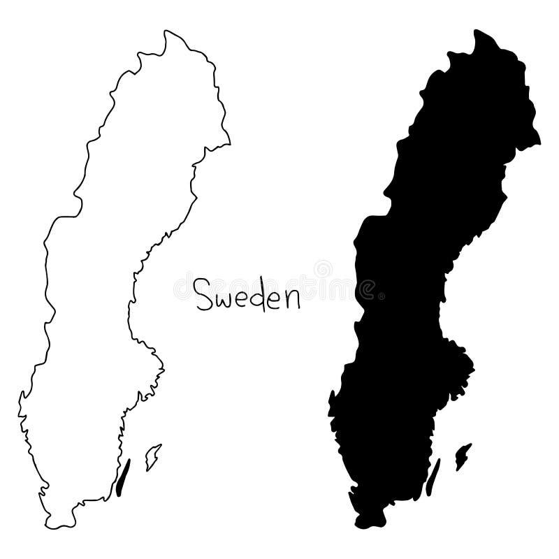 Översikts- och konturöversikt av Sverige - vektorillustrationhand royaltyfri illustrationer