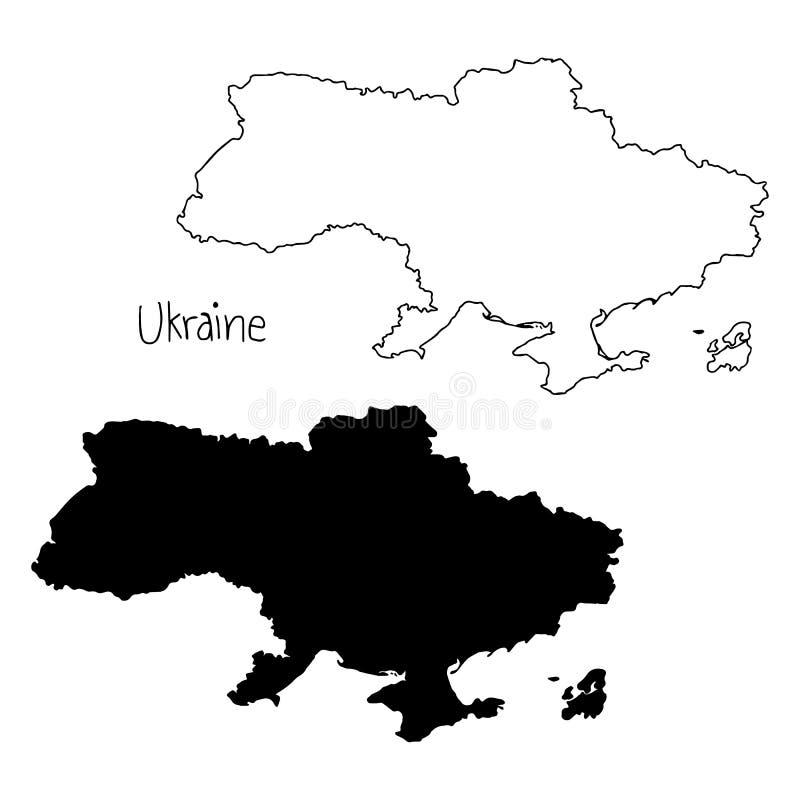 Översikts- och konturöversikt av Ukraina - vektorillustrationhand stock illustrationer