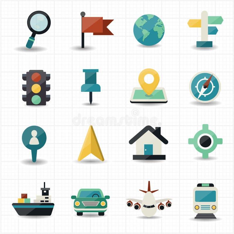 Översikts- och lägenavigatörsymboler stock illustrationer
