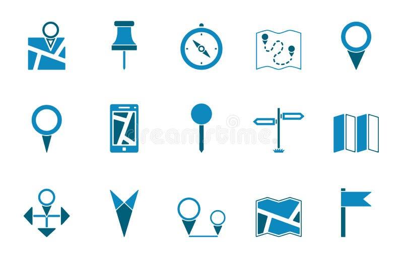 Översikts- och markörsymbolsuppsättning royaltyfri illustrationer