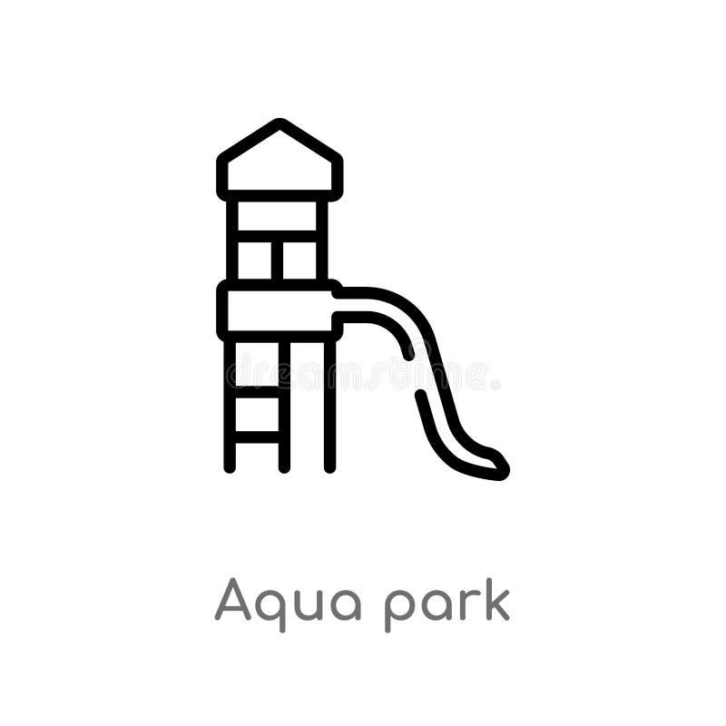 översiktsaqua parkerar vektorsymbolen isolerad svart enkel linje beståndsdelillustration från sommarbegrepp redigerbar vektorslag stock illustrationer