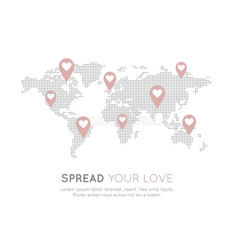 Översiktsbakgrund för ideella organisationer och donationmitt Fundraising symboler, Crowdfunding och välgörenhetprojektetikett vektor illustrationer