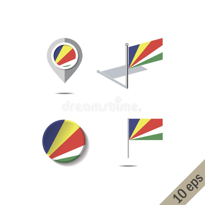 Översiktsben med den fråna Seychellerna flaggan stock illustrationer