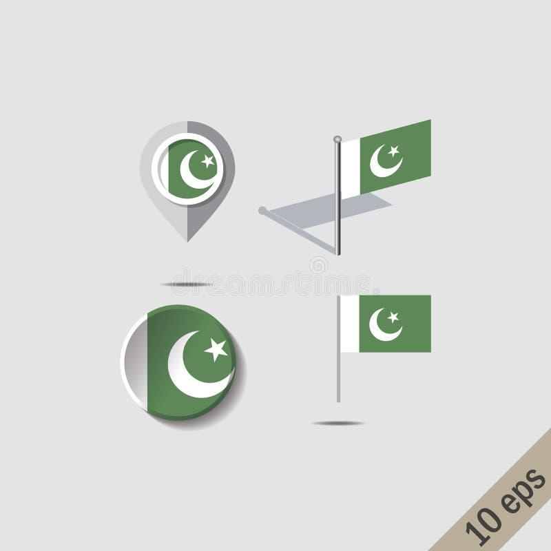 Översiktsben med den pakistanska flaggan stock illustrationer